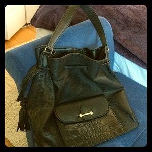 Issac Mizrahi leather black shoulder bag